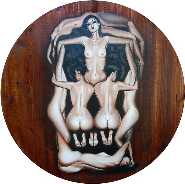 "Crystal Sylver - ""An Ode to Salvador Dali's Human Skull"" Oil on Wood, 36""x36"" circle - 2011"