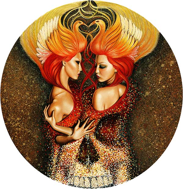 "Crystal Sylver - ""Birds of Death"" Oil, Encaustic Wax, Metallic Powder on Wood, 24""x24"" circle - 2011"