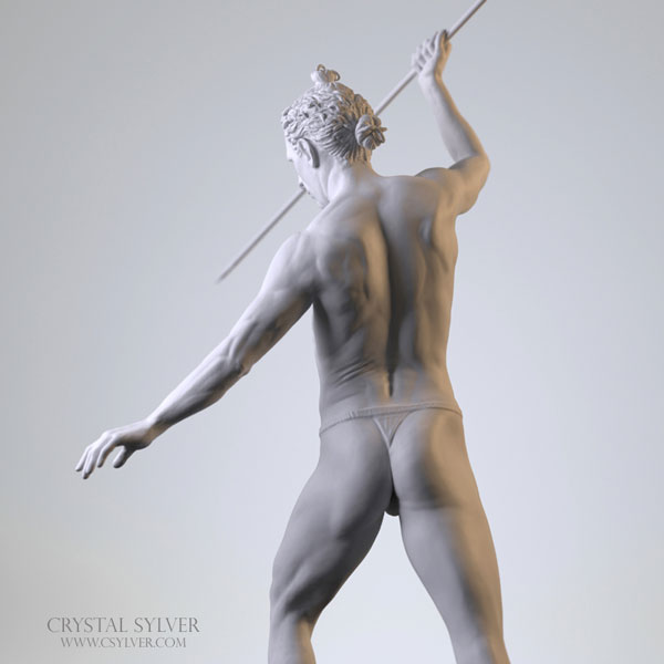Crystal Sylver - Digital Sculpture (back), made using software ZBrush- 2013