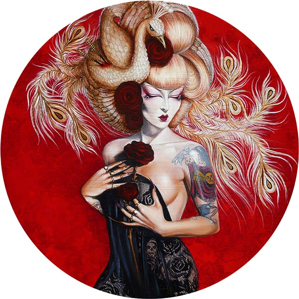 Crystal Sylver - Geisha of the Golden Phoenix - Oil Painting on Wood - Contemporary Art