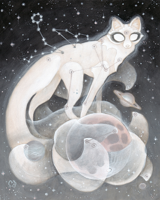 "Moon Guardian by Cory Benharzel - A part of ""Celestial"" group exhibition at Alexi Era Gallery - preview by Beautiful Bizarre"
