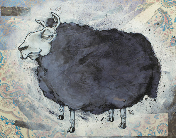 'Black Sheep' by Josh Taylor - Prints on Wood Show @ Distinction Gallery, Escondido - via beautiful.bizarre