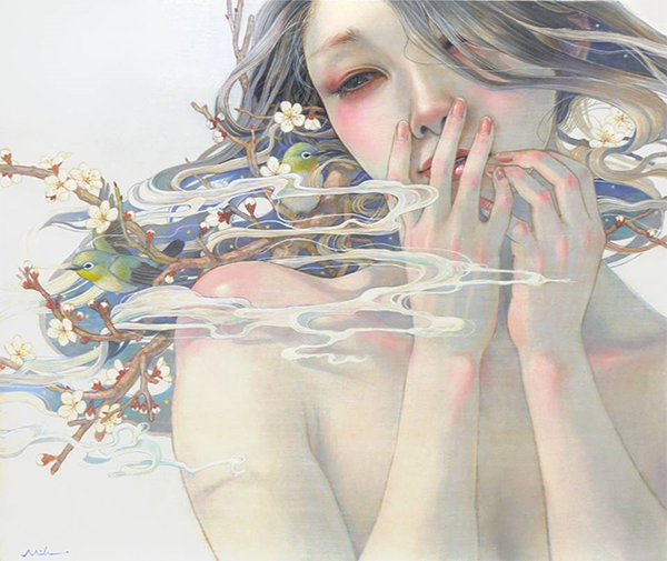 Miho Hiran painting of a giggling girl, wreathed in incense like smoke, with flower branches in her hair. She is giggling and covering her lips.