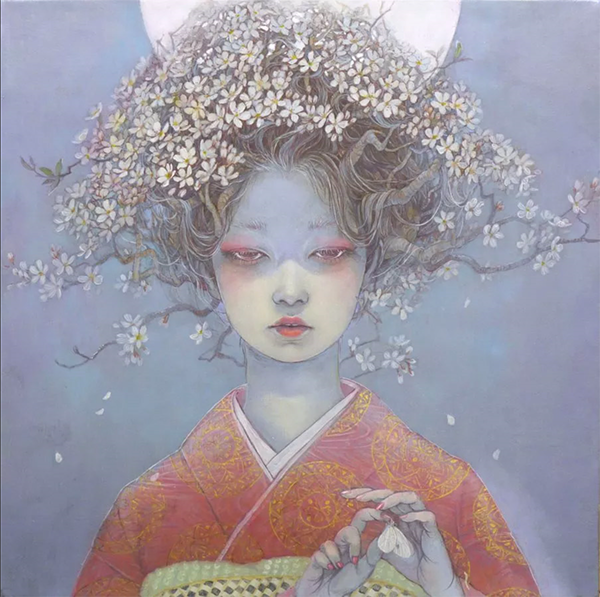 Miho Hiran of a woman in a Kimono with cherry tree limbs growing from her bound hair.