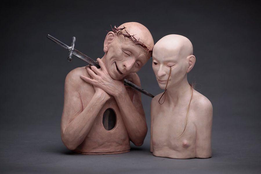 richard stipl surreal sword figures sculpture