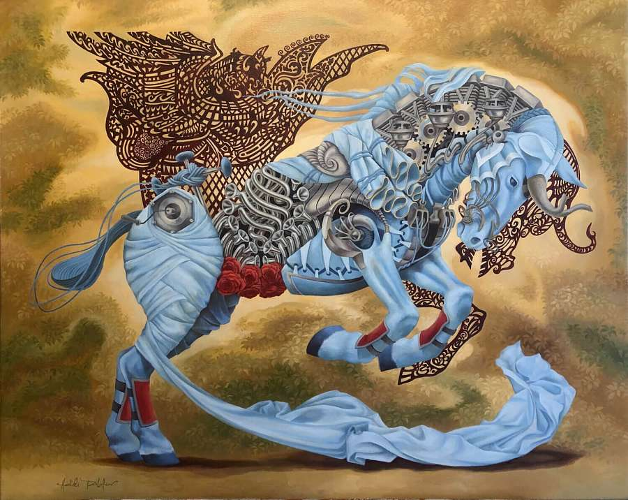 Heidi Taillefer painting of blue horse