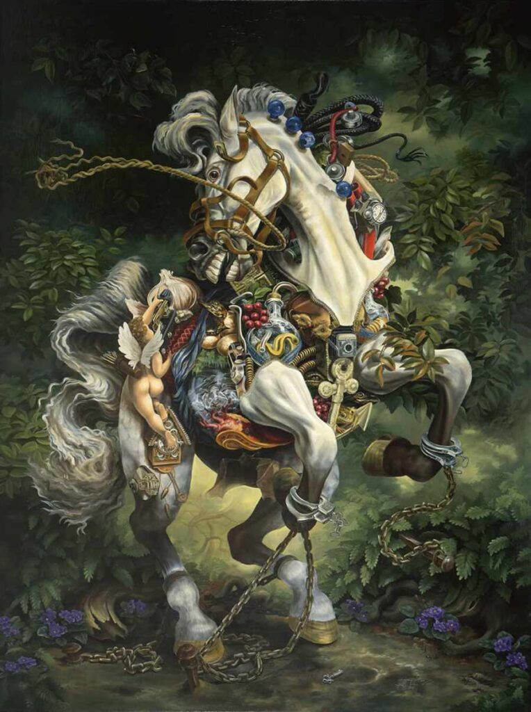 Heidi Taillefer painting of white robotic horse