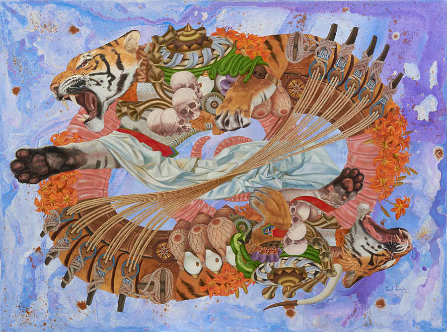 Heidi Taillefer surrealist painting of tigers