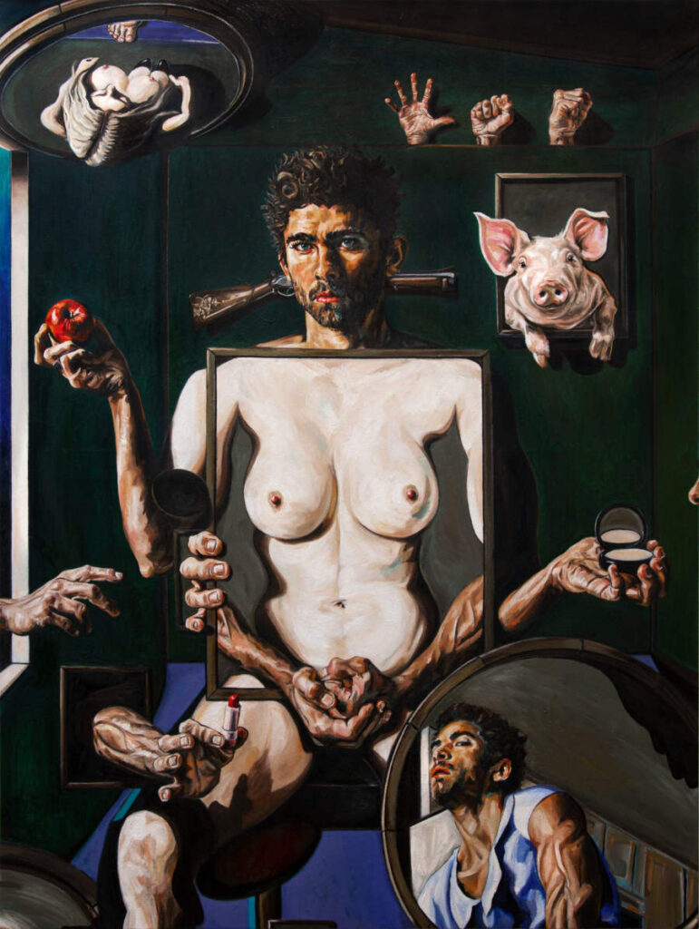 Ramsey Chahine surreal topless man and pig