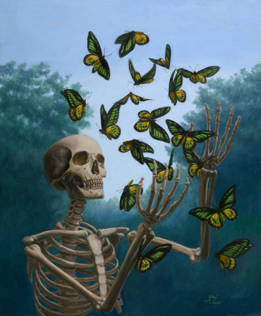Sandra Yagi skeleton and butterflies