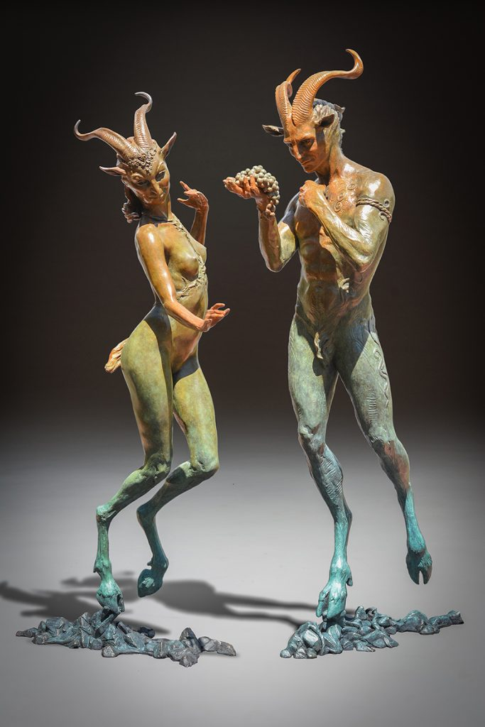 Kristine and Coline Poole fawn sculptures man and woman
