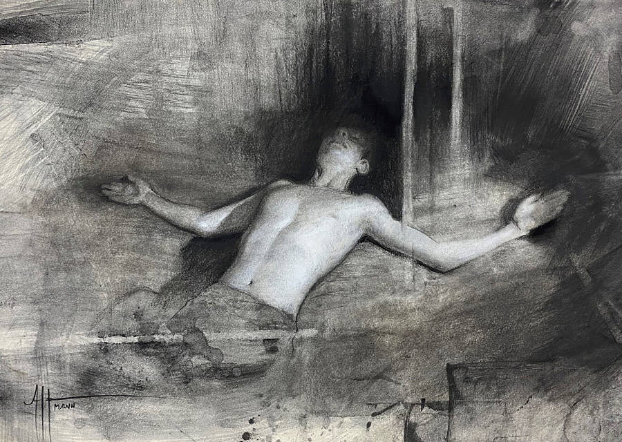 """Scott Altmann ,""""(study for) """"Disposition"""", Charcoal and chalk on paper"""