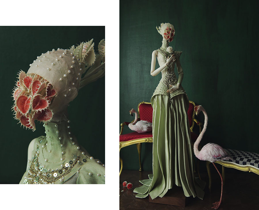 'Queen of Hearts', porcelain, silk, clay, pearls, etc by DD-Anne