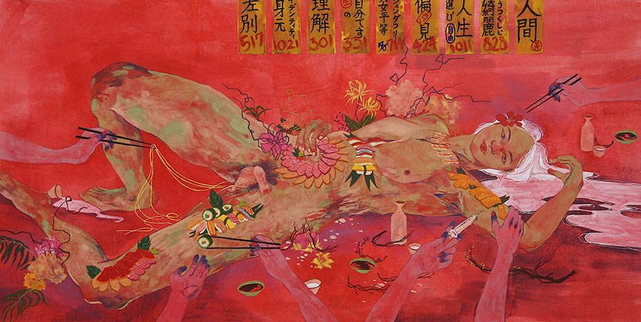 'Feast on November 20th', Mineral pigments, silver leaf with animal glue on Washi Japanese paper by Nelson Hor